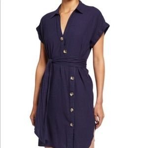 🆕Navy blue short sleeve linen button shirt dress